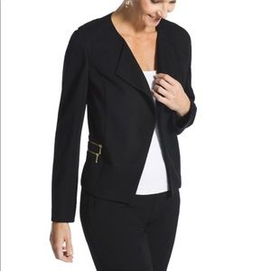 Chico's Modern Ponte Open Front Jacket Gold Detail